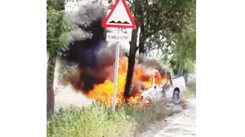 Darbar Sahib's Jeep Catches Fire
