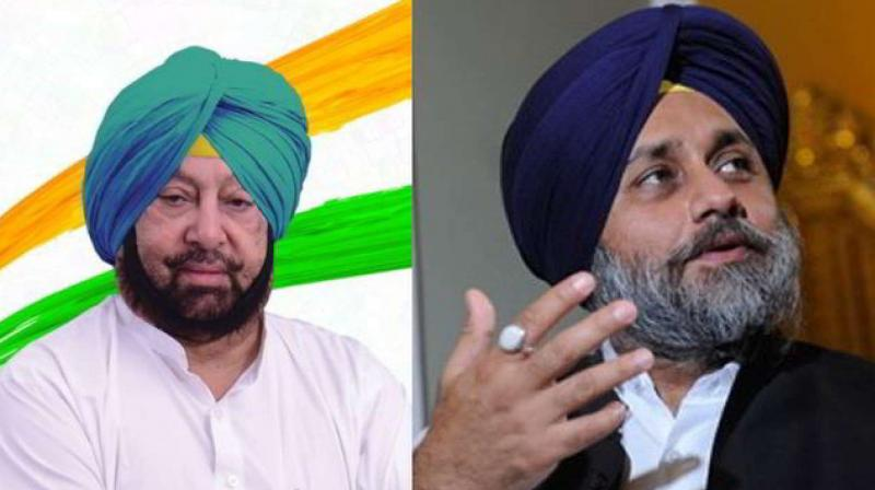 Captain amrinder singh and Sukhbir badal