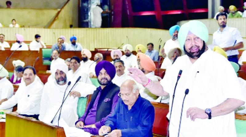 Chief Minister Capt Amarinder Singh speaking in the Vidhan Sabha