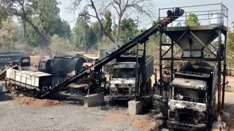 The Maoists again claimed, 4 vehicles recovered by fire