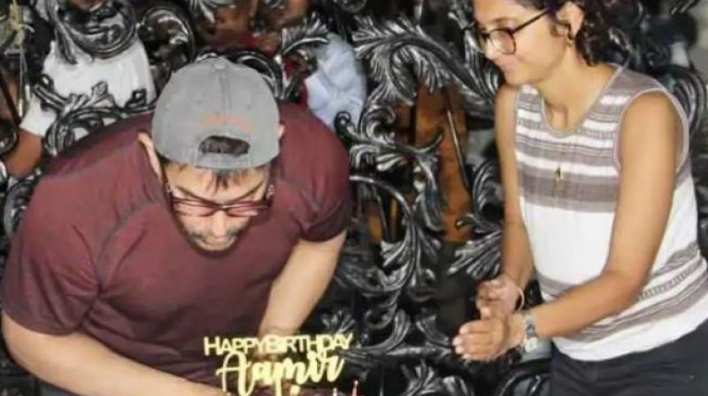 Aamir celebrates birthday with wife