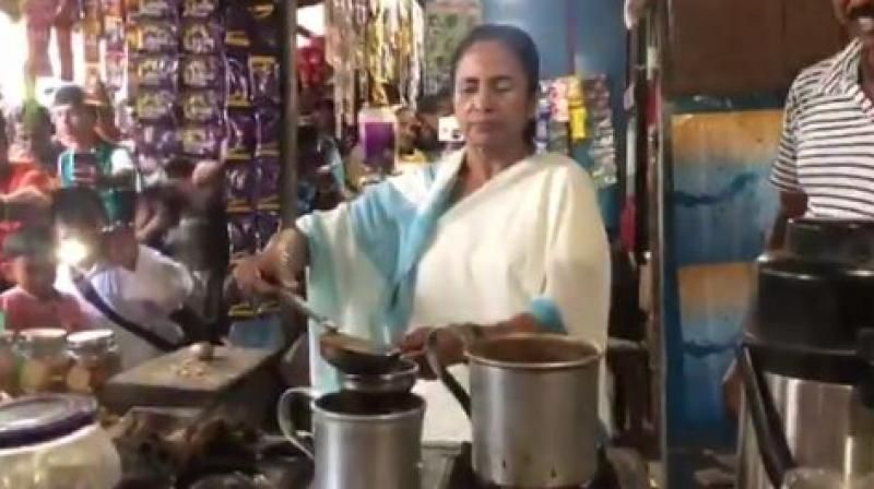 Mamata Banerjee makes tea in a stall