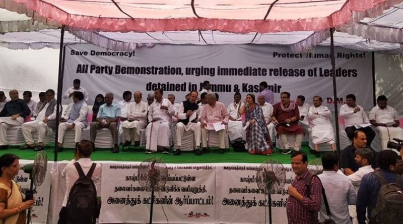 Opposition parties protest at Jantar Mantar, demand release of leader