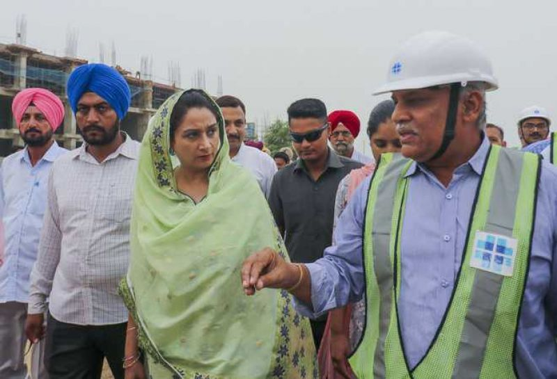 Harsimrat Kaur Badal takes stock of work at the AIIMS site