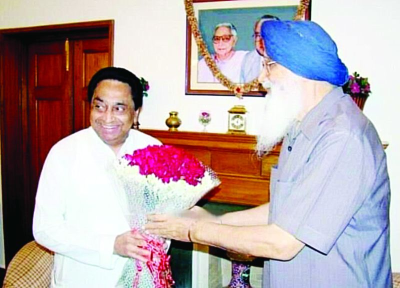 Parkash Singh Badal with Kamal Nath