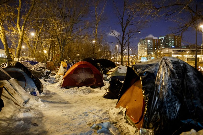 Homeless in tents