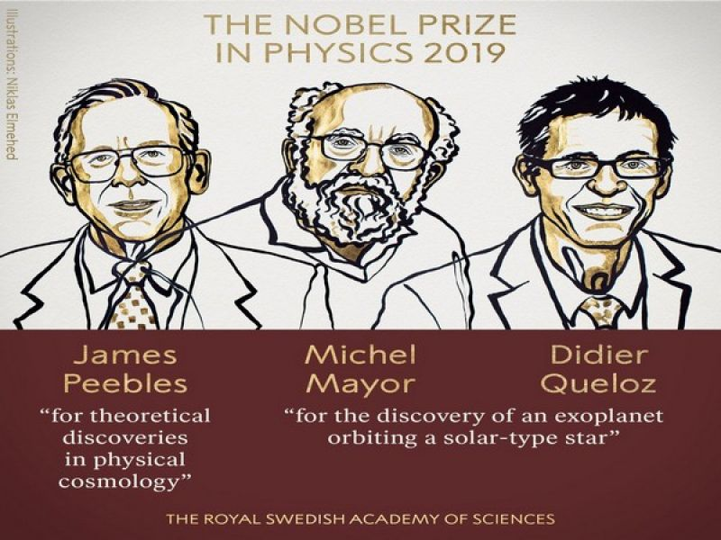 Nobel Prize in Physics awarded to James Peebles, Michel Mayor and Didier Queloz